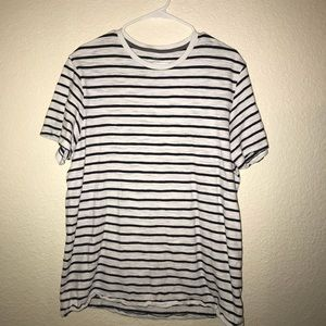 White and Navy blue striped shirt